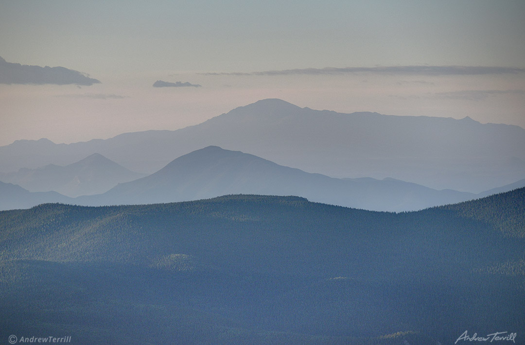 pikes peak colorado from the north summer haze