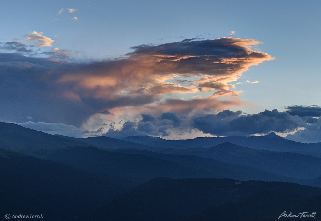 sunset clouds over colorado continental divide