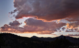 sunset over the front range foothills and mountains colorado