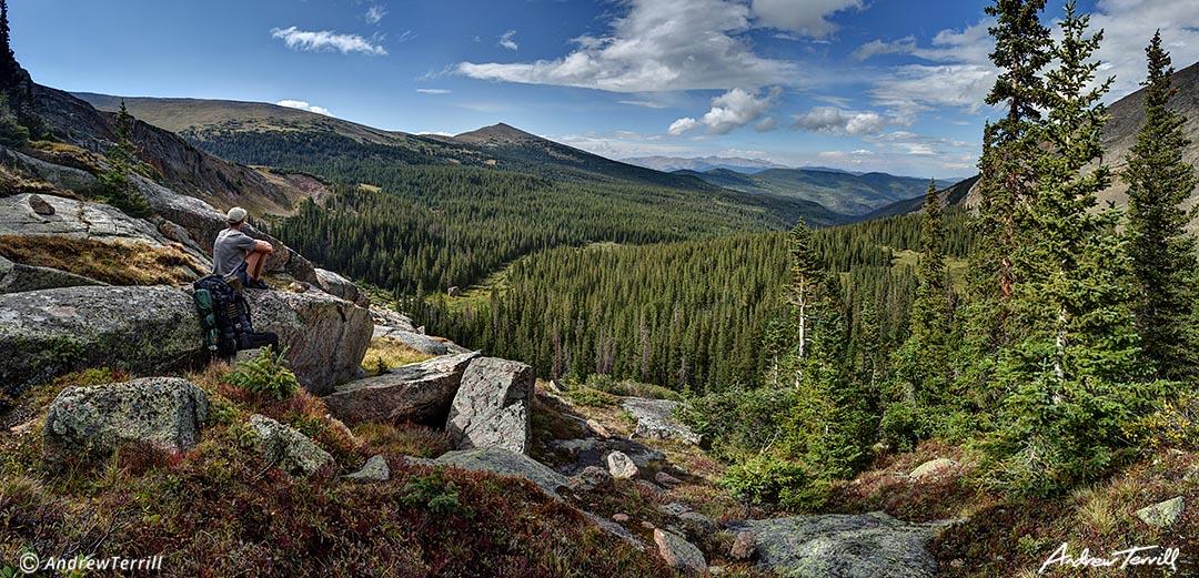 hiker sitting in mount evans wilderness colorado