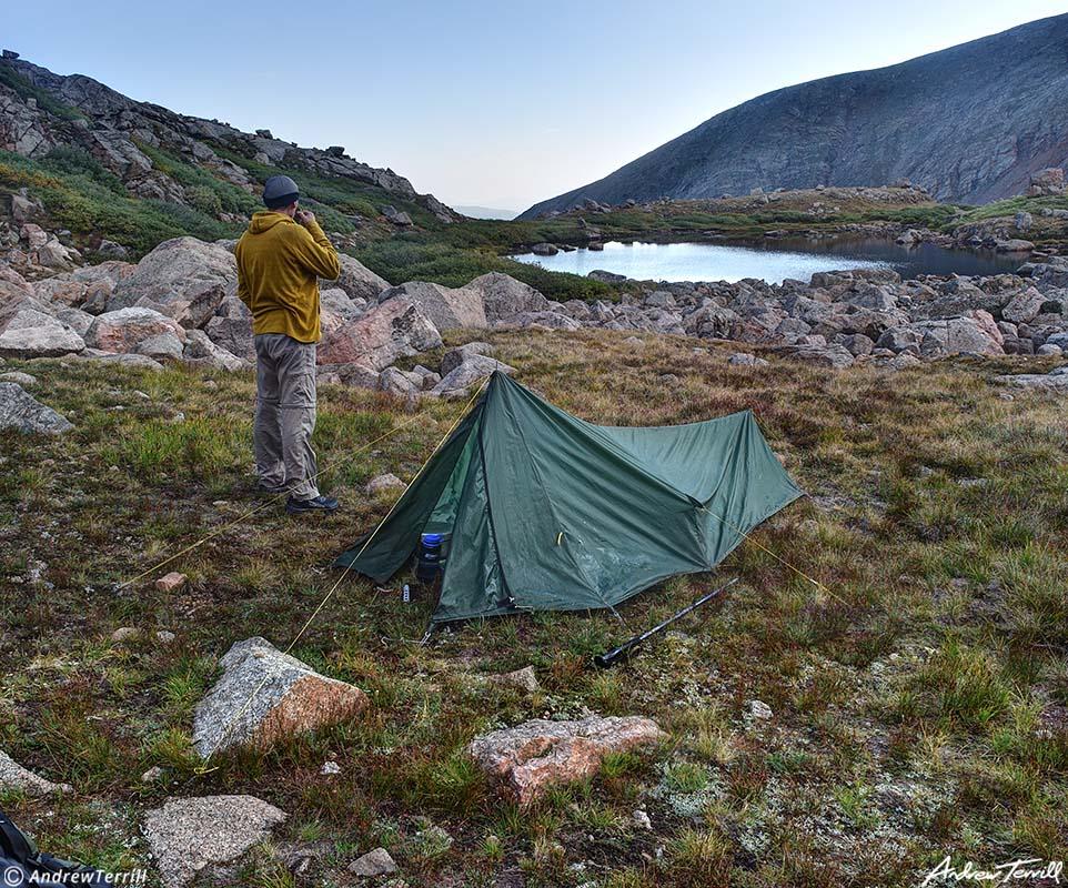 morning coffee in camp above mountain tarn colorado