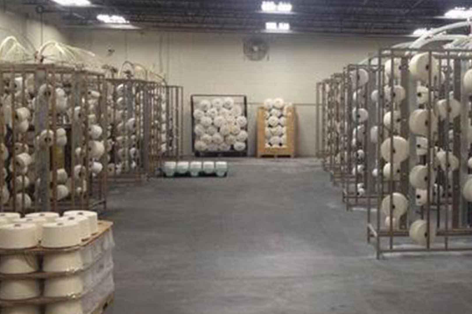 Rolls of yarn storage