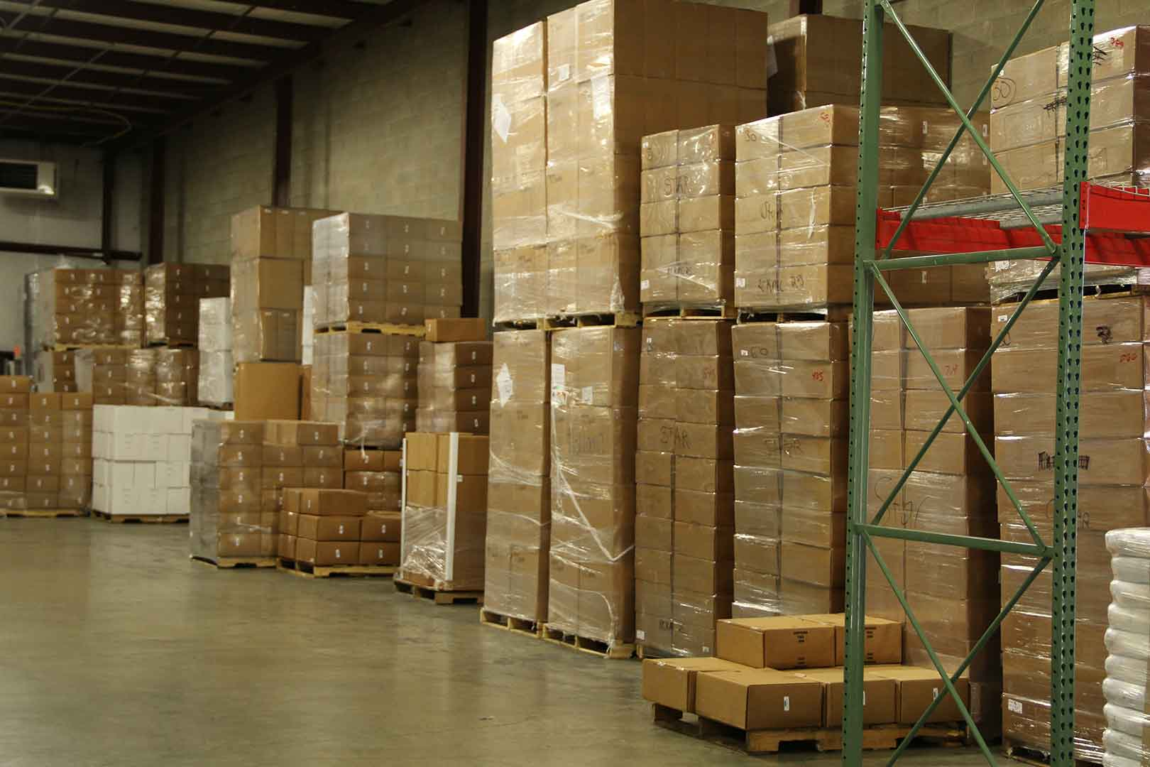 stacks of boxes in warehouse