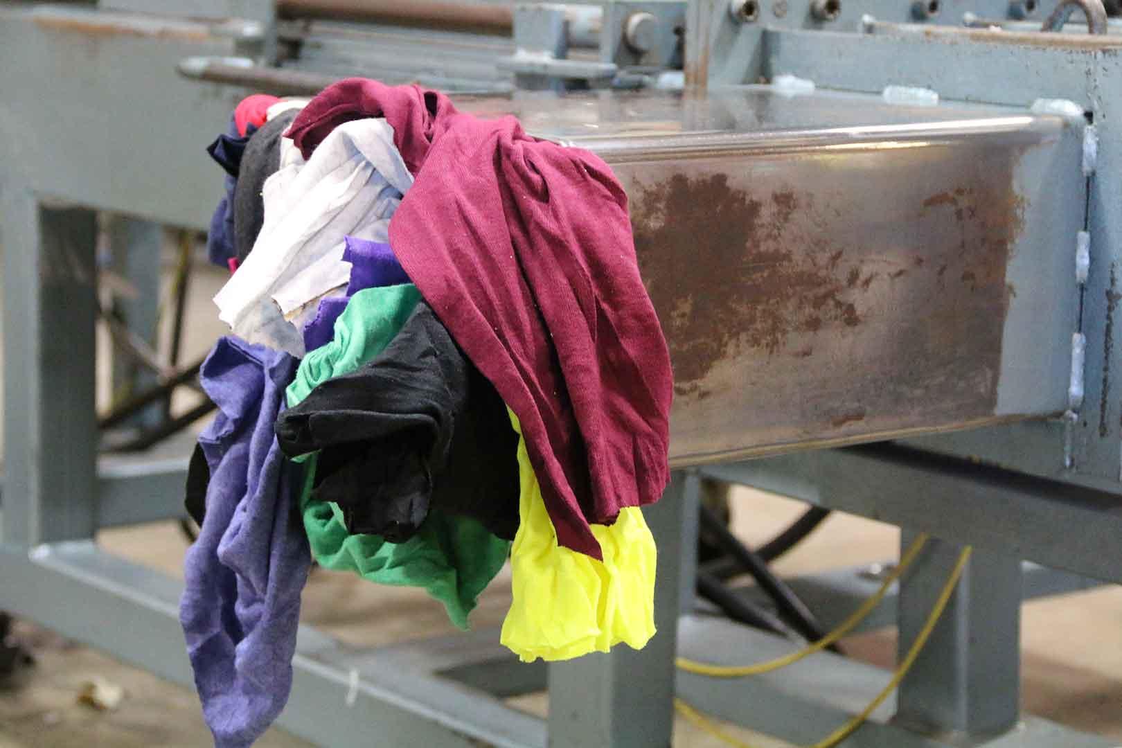rags entering packaging machine