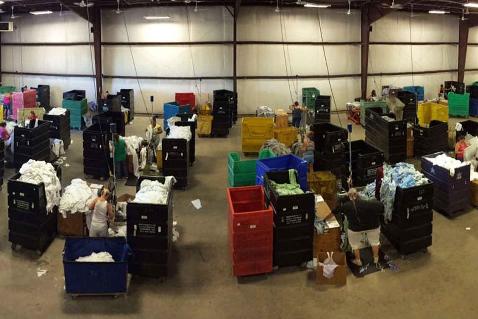 warehouse view of sorting bins