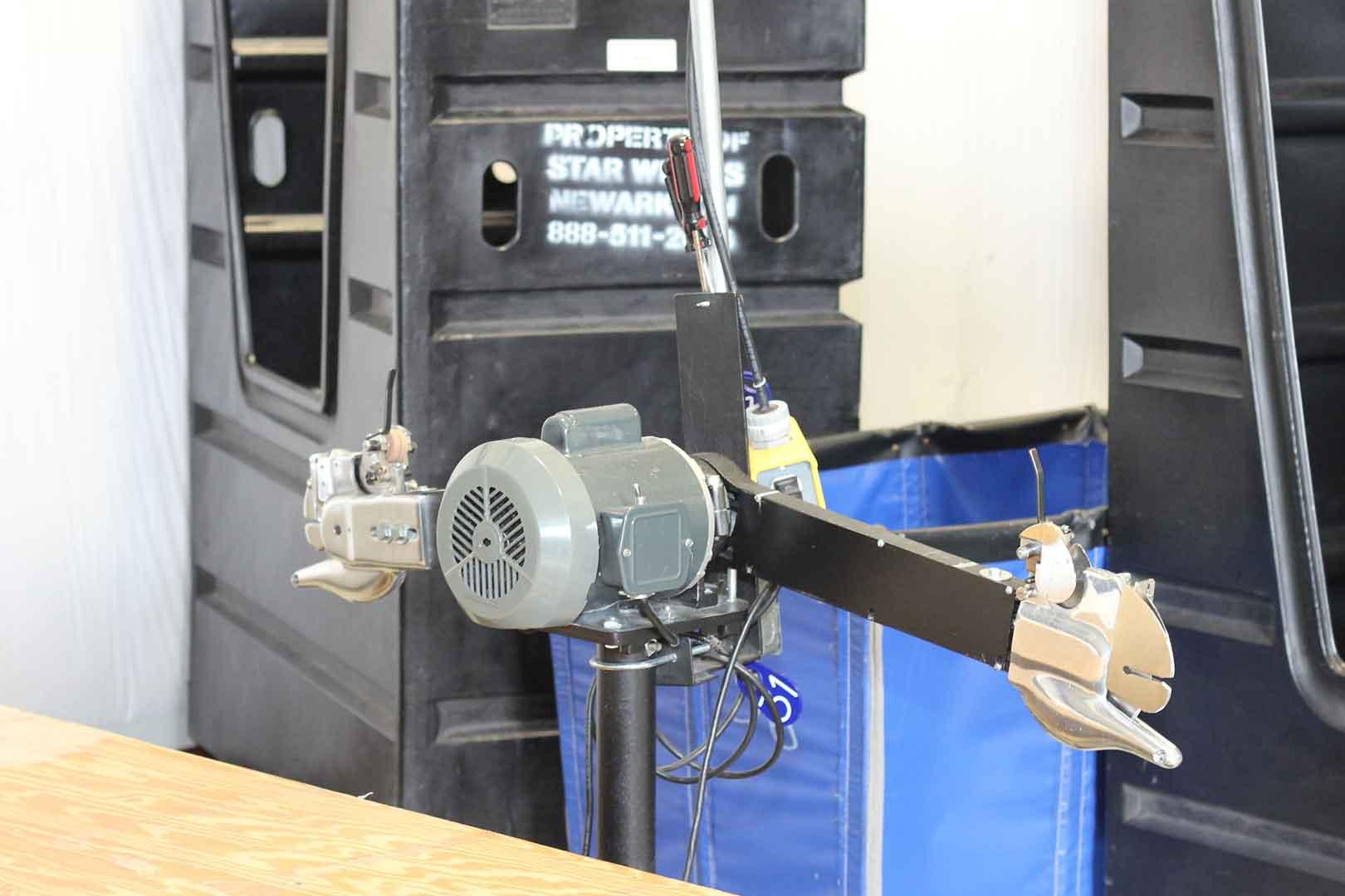 up close view of machine blade