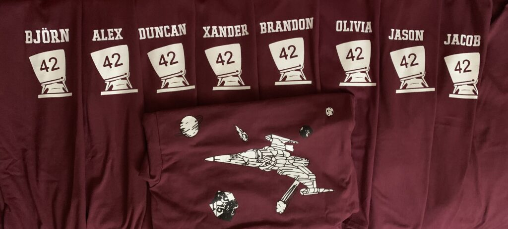 Examples of the new Maroon Crew TShirts