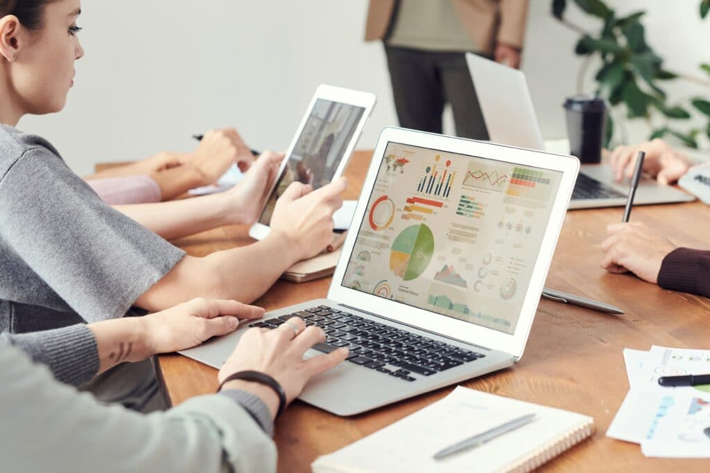 person looking at analytics on laptop