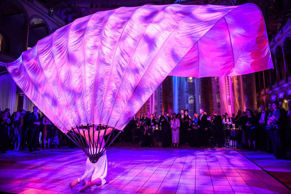 Pink lighting on performer
