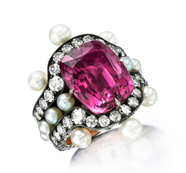 A Spinel, Natural Pearl And Diamond Ring, By Nadia Morgenthaler
