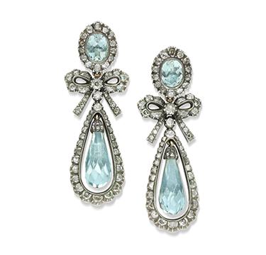 A Pair of late 18th Century Aquamarine and Diamond Ear Pendants, circa 1780
