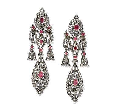 A Pair of Iberian Ruby and Diamond Ear Pendants, circa 1835