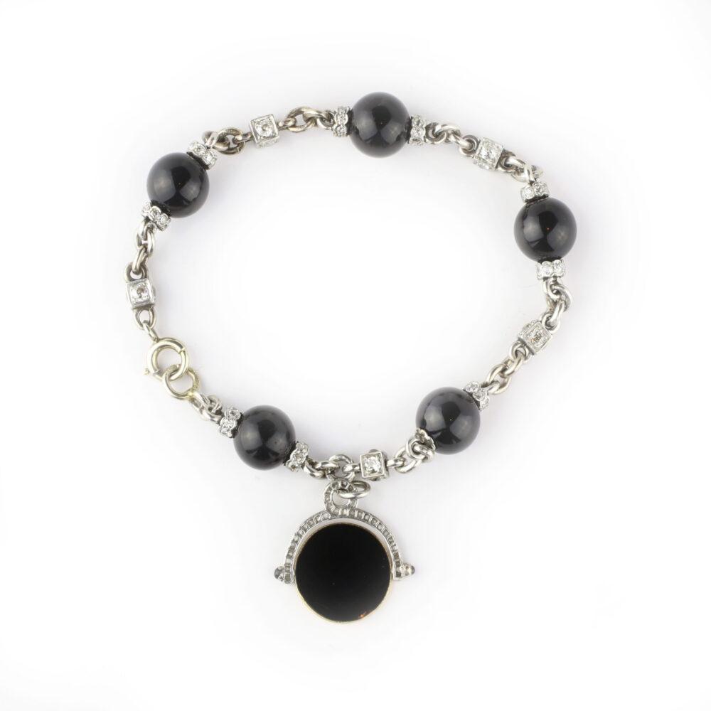 Diamond, Onyx and enamel Bracelet