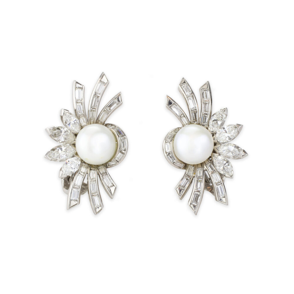 Natural Pearl and Diamond Ear clips