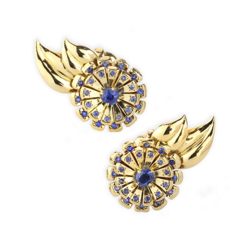 Van Cleef & Arpels Sapphire and Gold Ear Clips