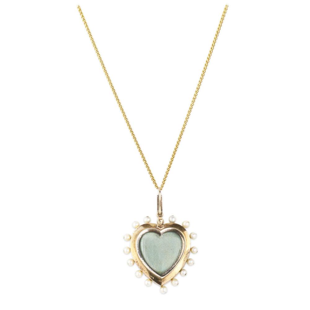Antique Enamel, Diamond and Pearl Locket Pendant