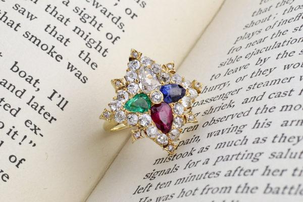 Multi- Gem And Diamond Ring