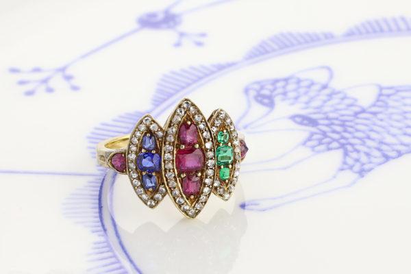 Multi-Gem And Diamond Ring
