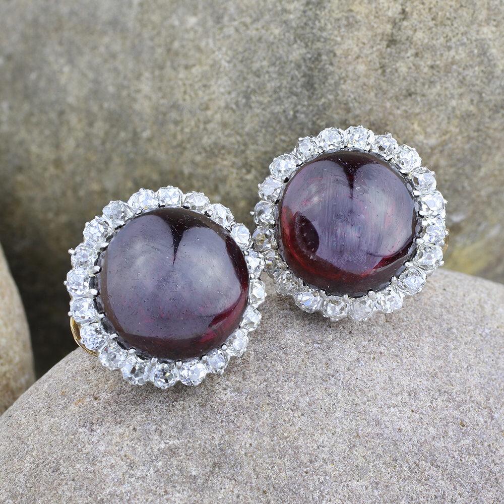 Antique Garnet and Diamond Earrings
