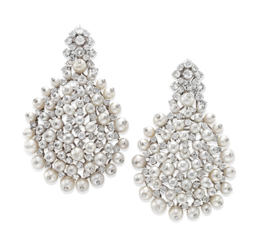 A Pair of Natural Pearl and Diamond Ear Clips, by SABBA