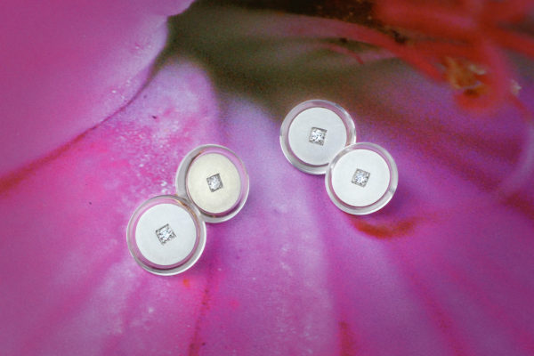 Cartier Pair Of Diamond, Rock Crystal And Platinum Cufflinks