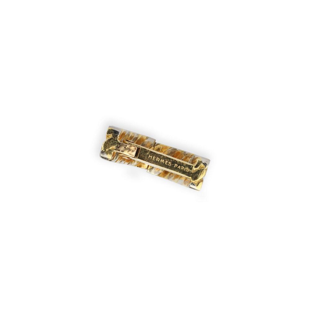 Hermes Pair of Bi-Color Gold Cufflinks