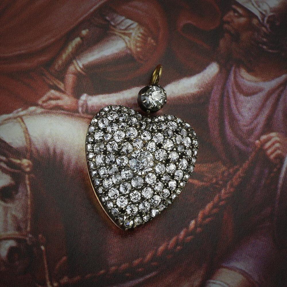 An Antique Diamond Set Heart Pendant