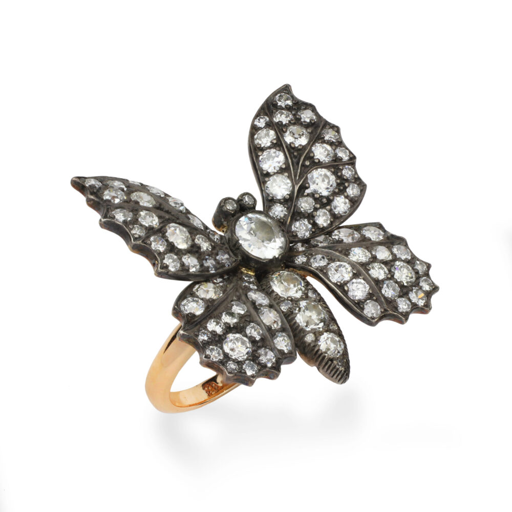 A Diamond Set Silver and Gold Ring