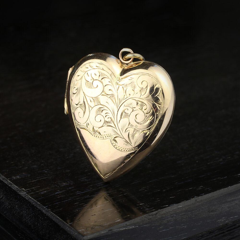 Antique Gold Heart Shaped Locket Pendant