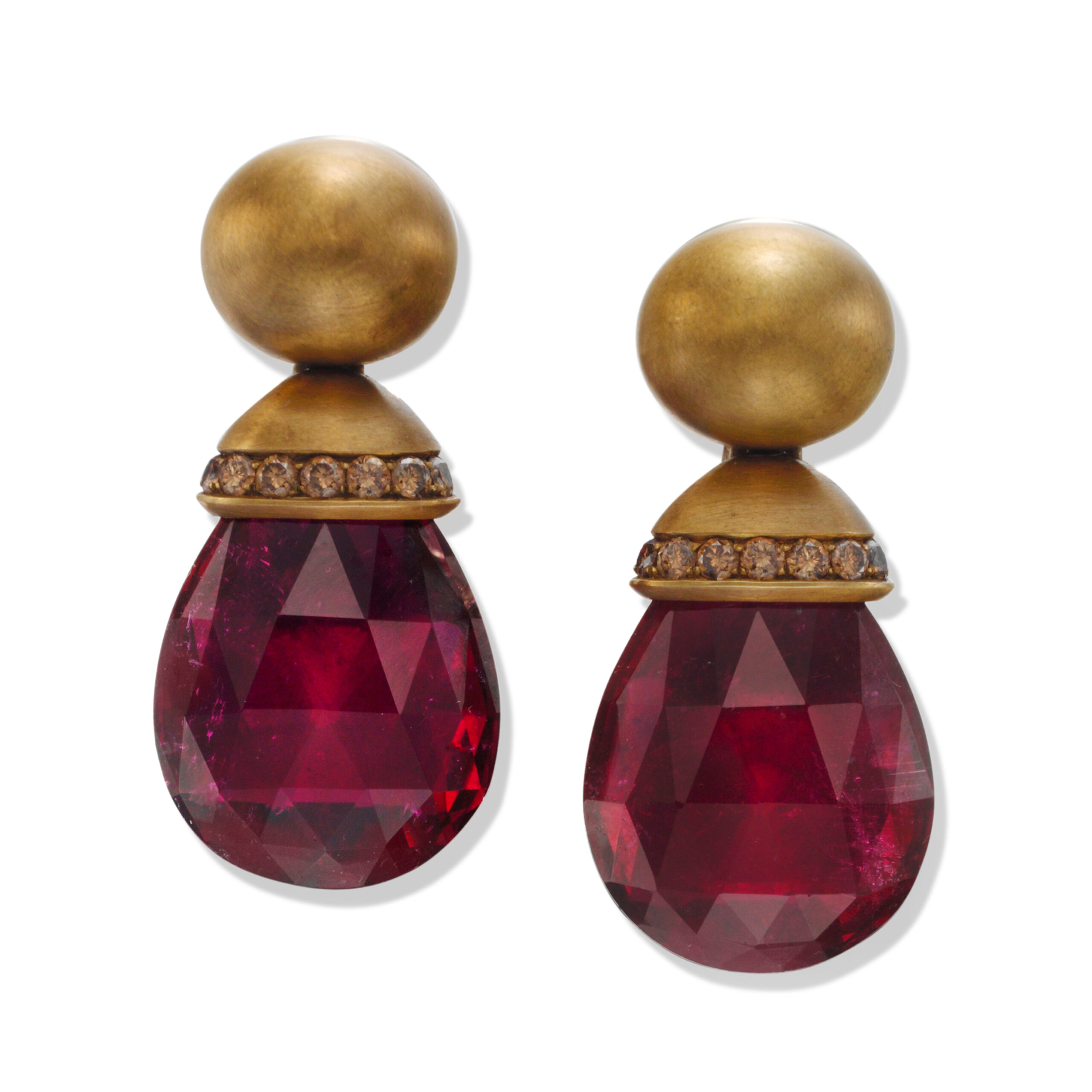 A Pair of Rubellite and Diamond Ear Pendants, by Hemmerle