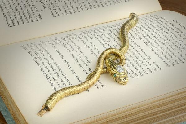 Antique Gold, Diamond And Emerald Snake Bracelet