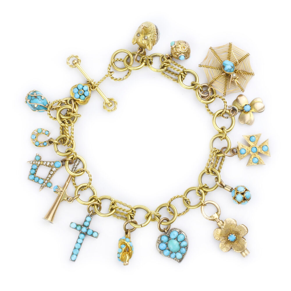 Turquoise and Gold Charm Bracelet