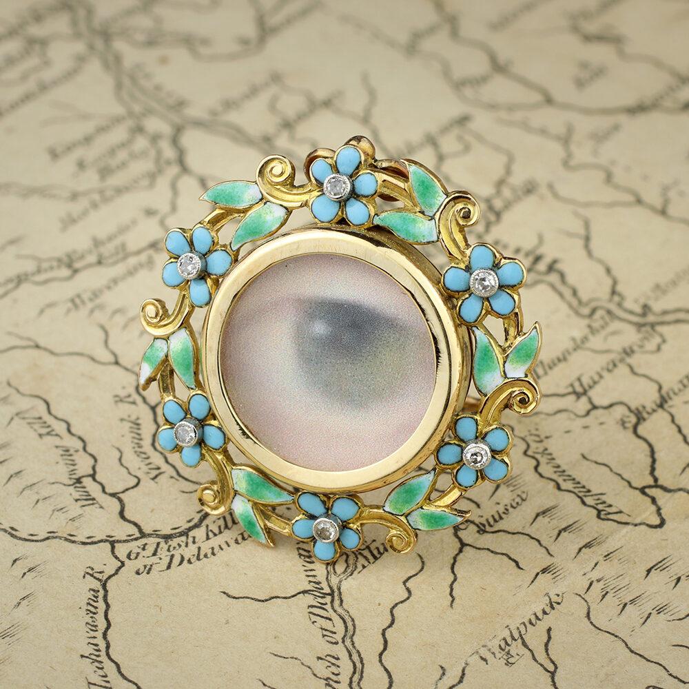 Antique Gold, Enamel and Diamond Photo Frame