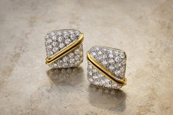 Diamond Set Platinum And Gold Ear Clips