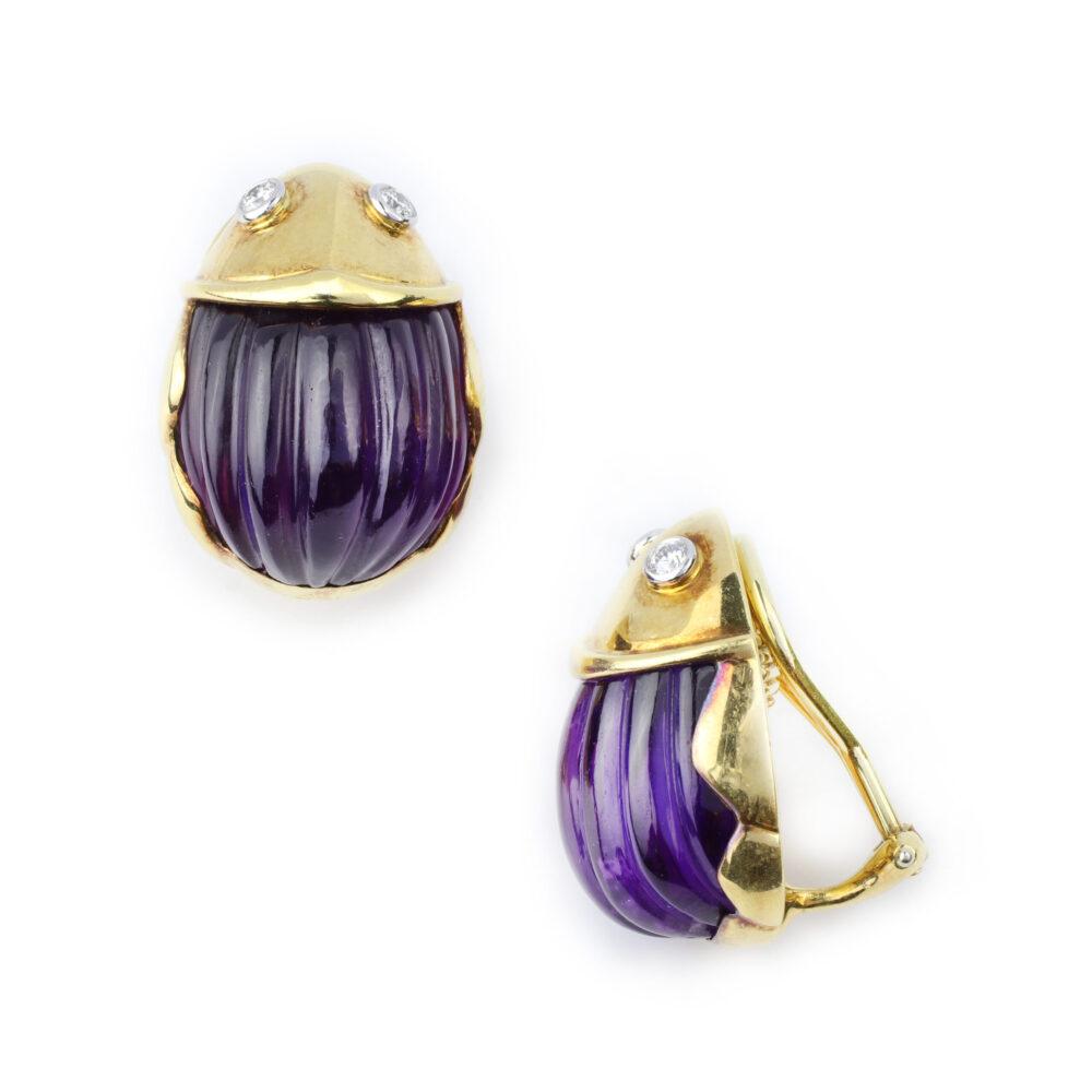 Tiffany & Co. Amethyst, Diamond and Gold Ear Clips