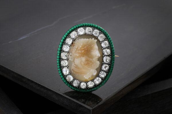 Agate Cameo, Enamel And Diamond Brooch