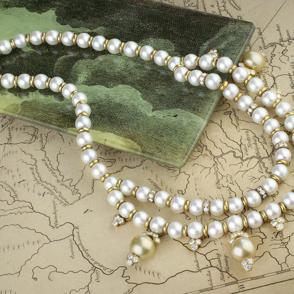 Van Cleef & Arpels Pearl and Diamond Necklace