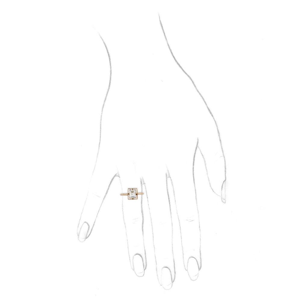 Rectangular Step Cut Diamond Ring