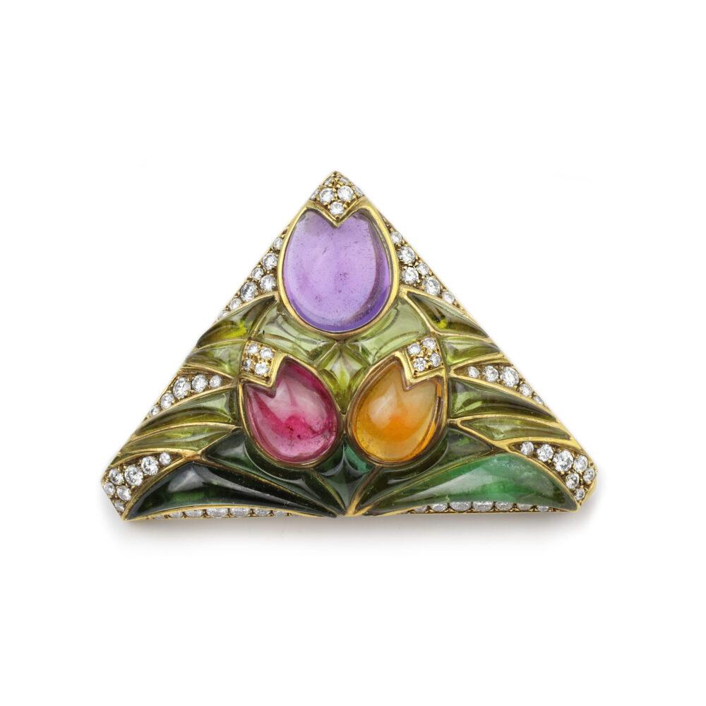 Bulgari Multi-Gem and Diamond Brooch