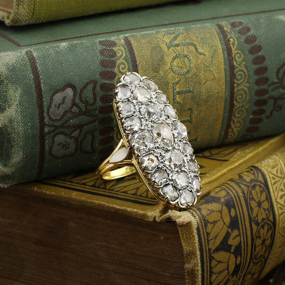 Antique Oval Shaped Diamond Cluster Ring