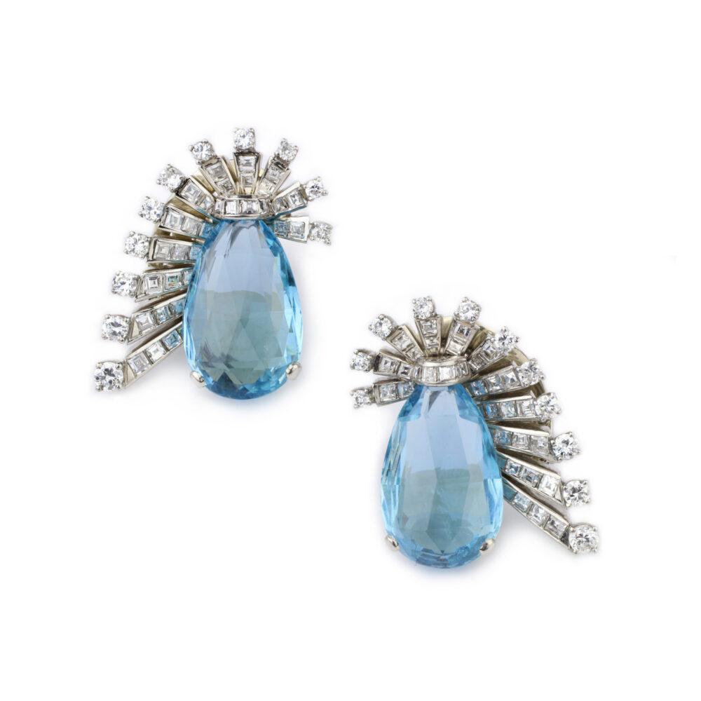 Van Cleef & Arpels, Aquamarine and Diamond Ear Clips