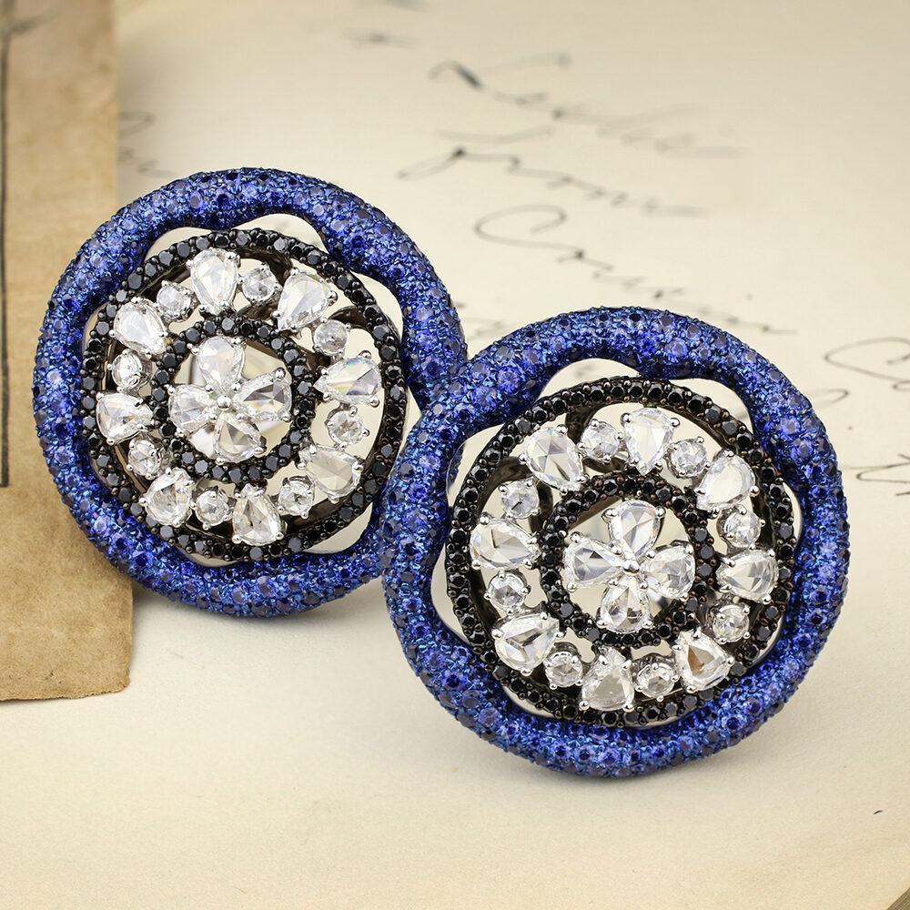 Carnet Sapphire and Diamond Ear Clips
