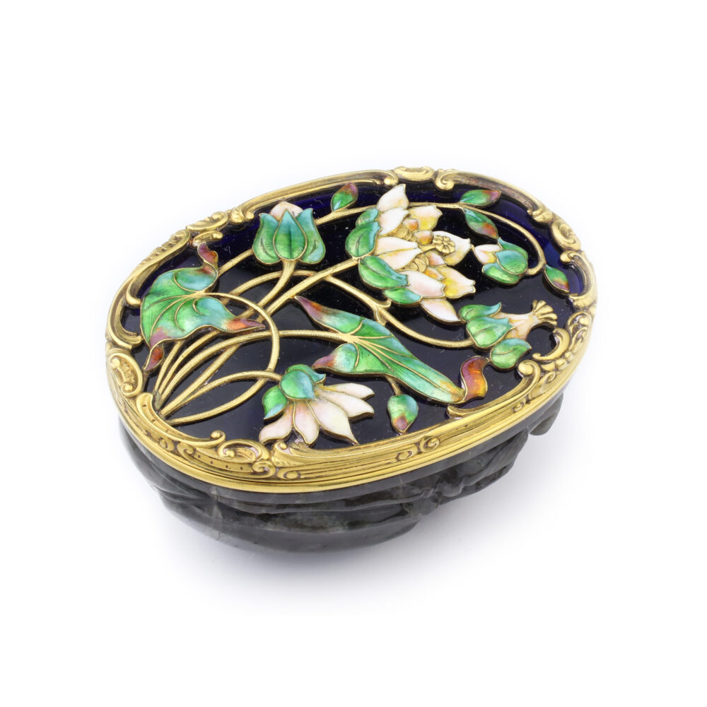 Gold Enamel and Carved Labradorite Snuff Box