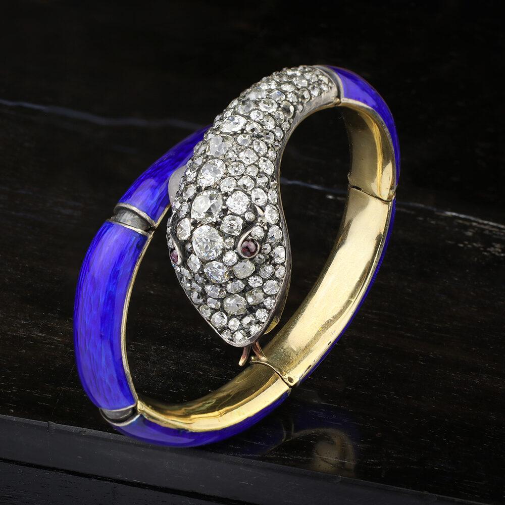 Antique Diamond and Enamel Snake Bracelet