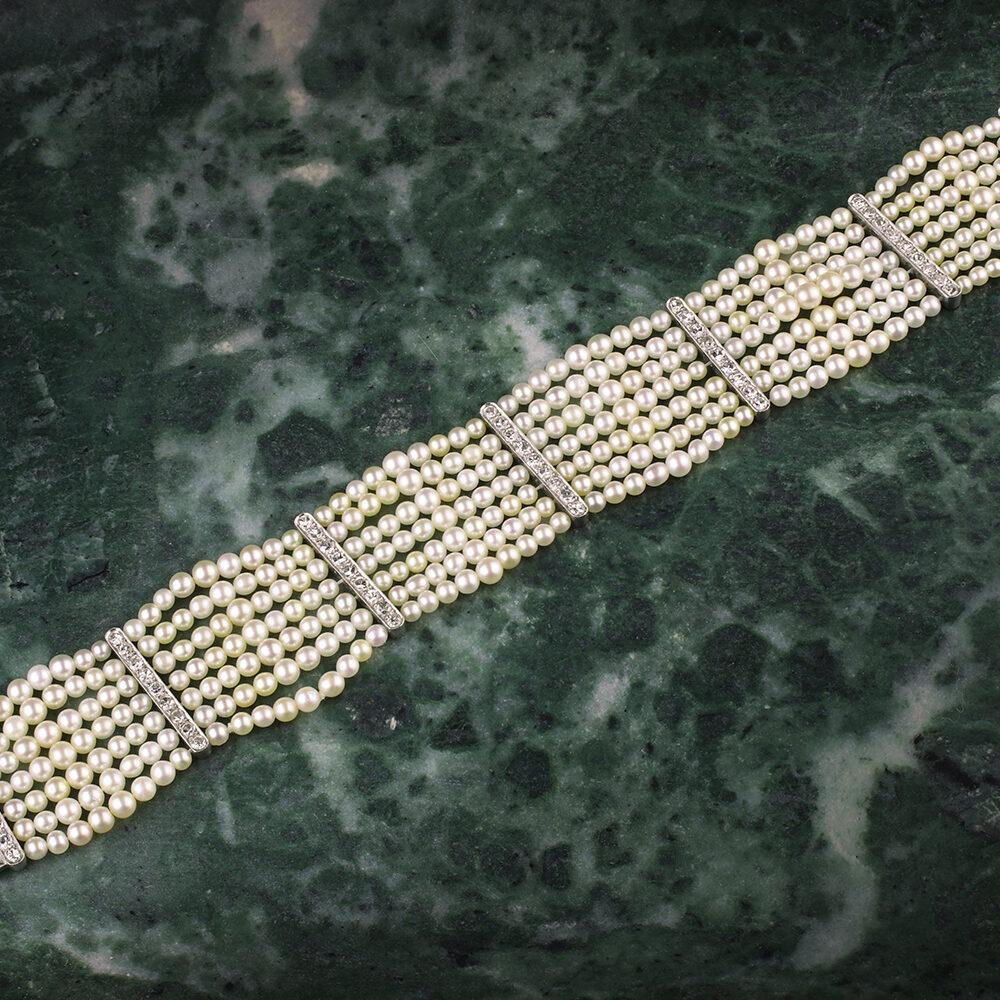 Seed Pearl and Diamond Bracelet