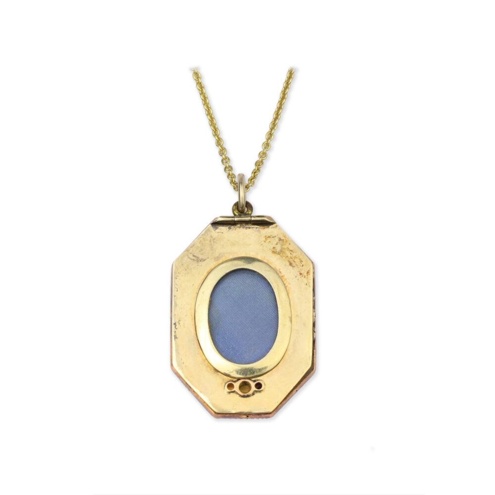 Diamond and Enamel Monogram Pendant