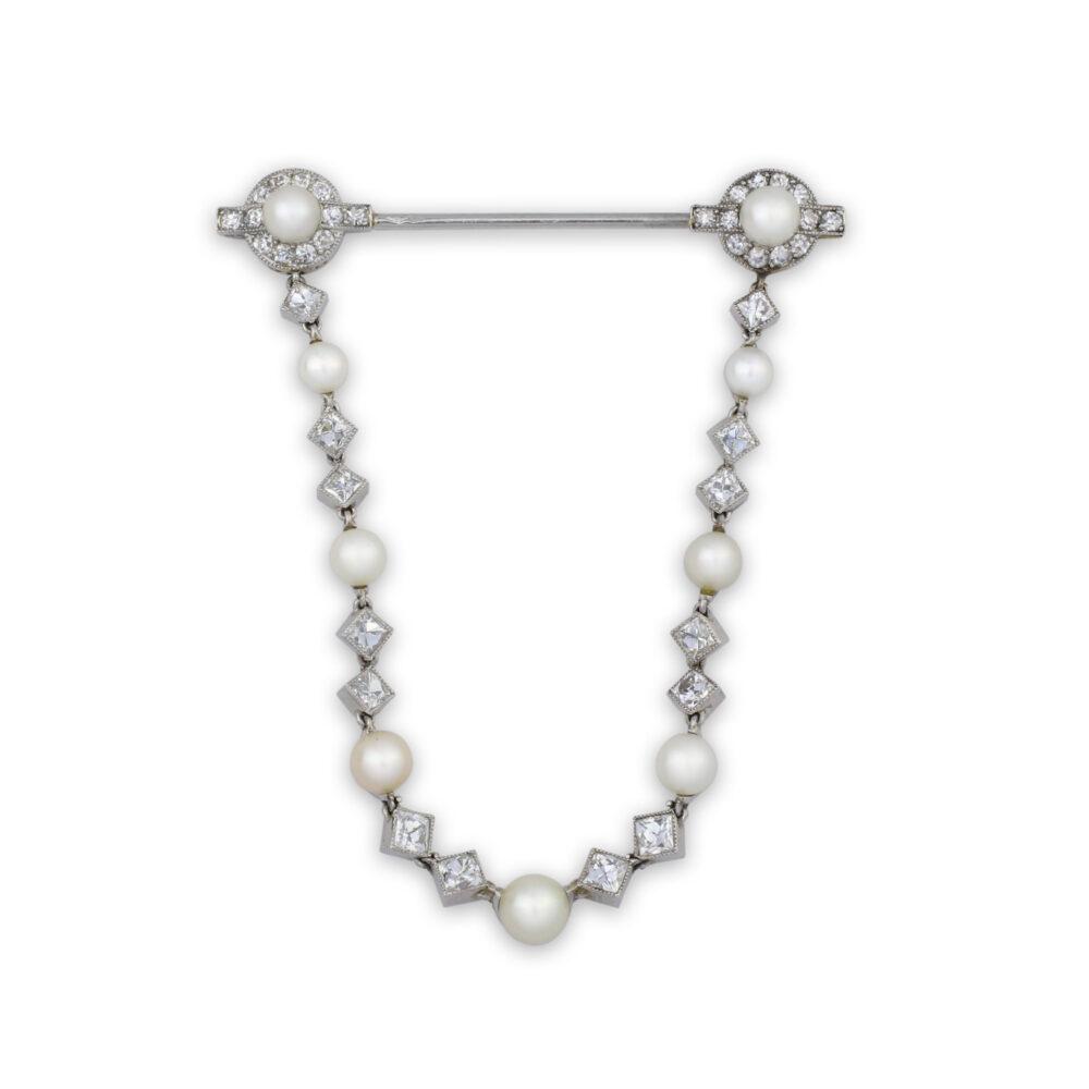 Pearl and Diamond Jabot Pin