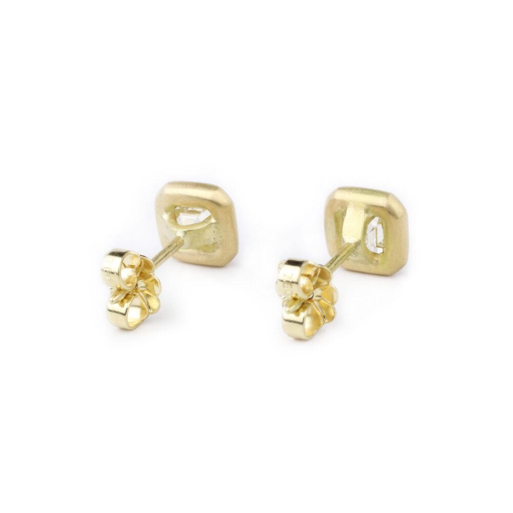 Asscher-cut Diamond and Gold Stud Earrings