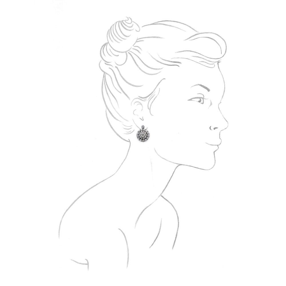 Diamond Set Silver and Gold Ear Pendants