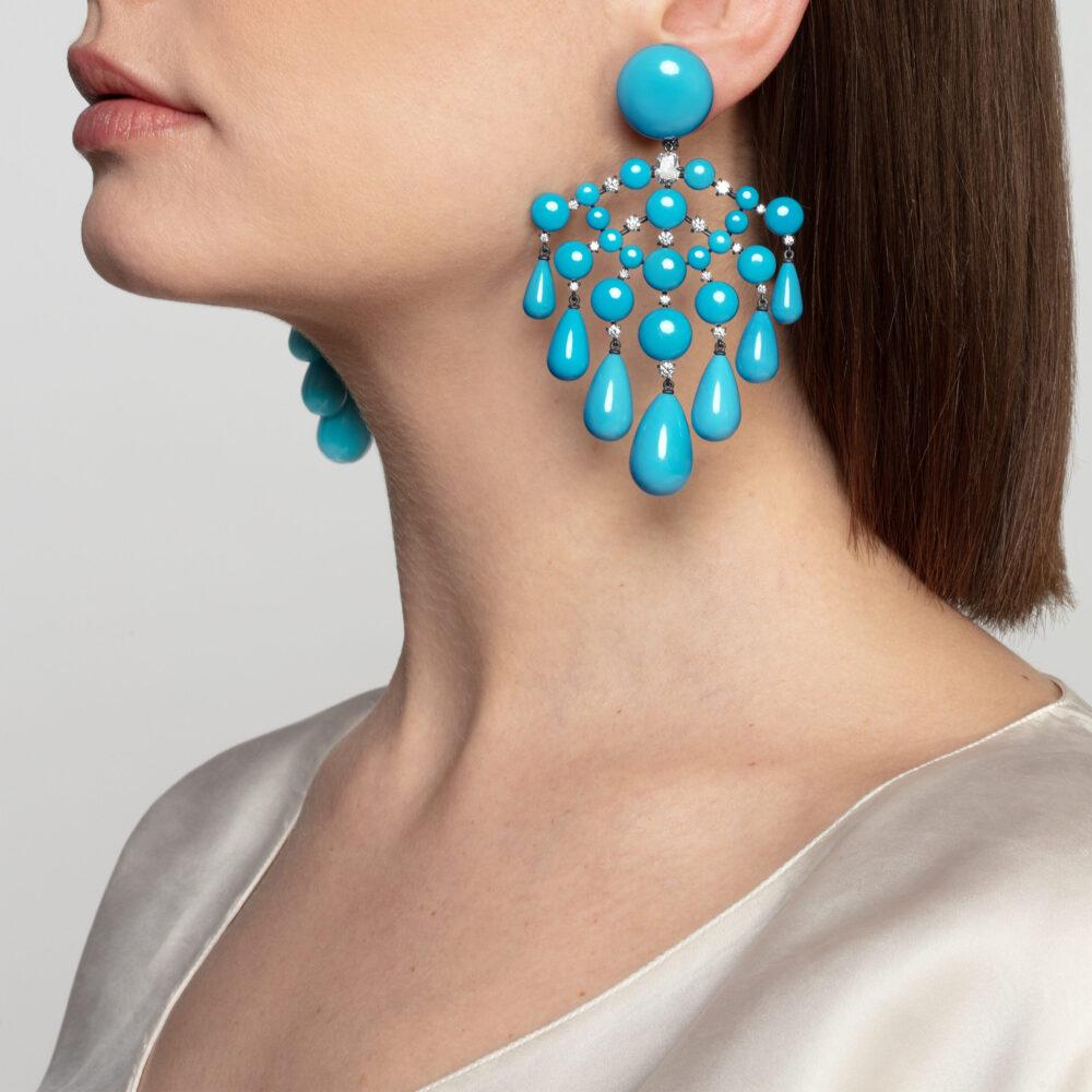 Cabochon Turquoise and Diamond Ear Pendants